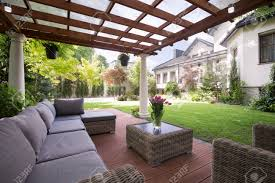 photo of luxury garden furniture at the patio stock photo picture
