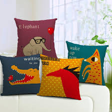 Discounted Patio Cushions Crocodile Red Horse Elephant Cushion Cover Cotton Linen Decorative
