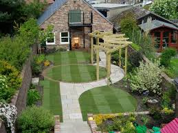 lovely wooden landscaping with green grass field plus mid century