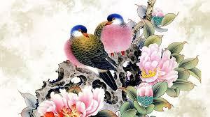 oriental flower wallpaper with birds
