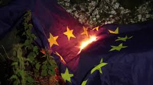 Burning Red Flag Burning The Uk Eu And Scottish Flags Youtube