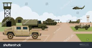 military jeep side view military base camp side view army stock vector 489118672