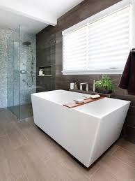 contemporary bathroom design contemporary bathroom ideas grey floor mount faucet red brown tile