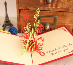novelty handmade new year greeting cards flower paper