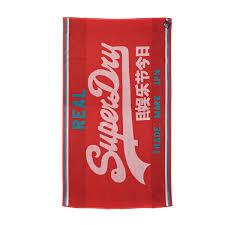 superdry duo logo beach towel poppy red free uk delivery