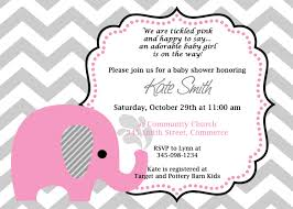 printable pink elephant chevron baby shower invitation customized