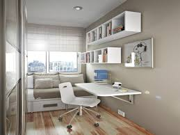 study room decoration with wall mounted desk and white wall
