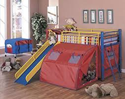 Bunk Bed With Slide And Tent Coaster Bunk Bed With Slide And Tent Multicolor