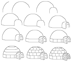 how to draw a cartoon igloo easy free step by step drawing