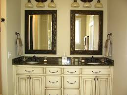 double white wooden vanity combined twin trough sinks and black