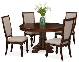 shop dining room furniture value city furniture value city vienna round dining table and 4 upholstered side chairs merlot