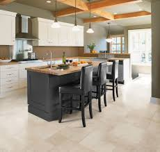 White Kitchen Island With Natural Top Simple Biege Color Natural Style Vinyl Kitchen Floor With