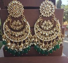 earrings online buy green kundan chandbali earrings online