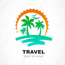 vector logo design template abstract sun and palm tree on seaside