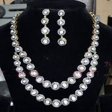 diamond necklace earring set images Pave rose cut polki diamond necklace earrings set vinita jewels jpg