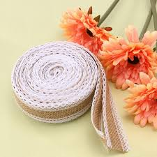 5m roll linen handmade christmas crafts jute burlap band with lace