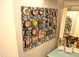 39 makeup storage ideas that will have both the bathroom and magnetic fabric wall makepup storage