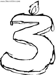 Free Numbers Coloring Pages From Sherriallen Com Number 3 Coloring Page