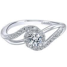 swirl engagement rings gabriel 14k white gold diamond halo engagement ring
