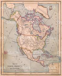 Map Of America Alaska by Old Color Map Of North America From 1870 Stock Photo 471386207