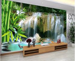 waterfall wall murals bamboo promotion shop for promotional custom photo mural 3d wallpaper waterfall bamboo landscape room decoration painting 3d wall murals wallpaper for walls 3 d