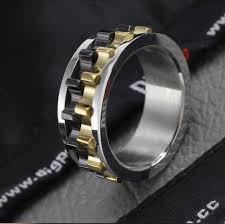 gear wedding ring mens wedding ring black chain spinner mens promise ring gear