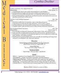 medical coding resume samples cover letter for medical billing