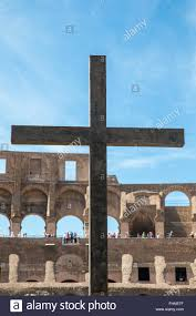 cross at the colosseum in rome italy the cross is dedicated to