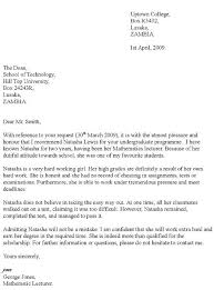 recommendation letter example for college cover letter sample