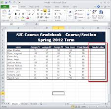 calculating letter grades in excel 2010 information technology