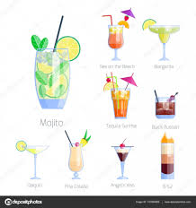 cosmopolitan drink clipart set of alcoholic cocktails isolated fruit cold drinks tropical