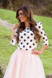 polka dot modest top affordable boutique clothes trendy modest