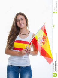 person with spanish flag stock photo image of event 37828156
