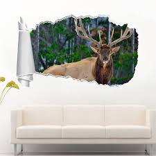 deer in snow 3d torn hole ripped wall sticker decal decor mural deer in snow 3d torn hole ripped wall sticker decal decor mural art animals wt14