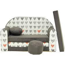 petit canape enfant canapé lit enfant convertible gris et petit cœurs achat vente