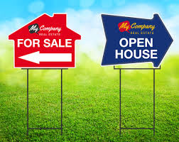 custom house arrow shape yard signs online corrugated yard signs