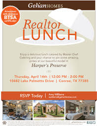 join gehan homes for a realtor lunch event this thursday in