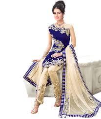 mahi fashion blue embroidered semi stitched anarkali dress