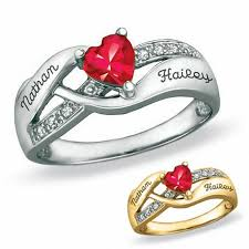 personalized rings with names 10k gold s birthstone heart ring with cubic zirconia
