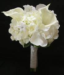 white hydrangea bouquet touch ivory white hydrangeas orchids and calla lilies bouquet
