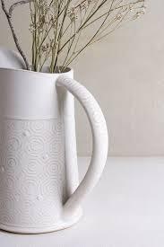 White Ceramic Jug Vase White Ceramic Vase Pottery Wedding Vase Pottery Wedding