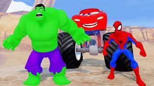 lightning mcqueen monster truck videos the avengers hulk spiderman u0026 captain america w disney cars