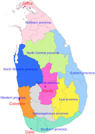 Sri Lanka On World Map by A Map Showing Provinces And Major Cities In Sri Lanka Figure 14