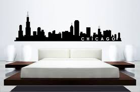 chicago home decor skyline mural wall sticker chicago skyline home decor building mural