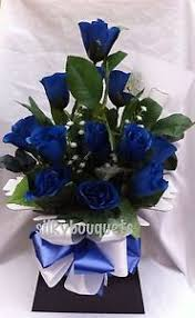 blue roses delivery artificial silk flowers dozen blue roses valentines gift bouquet