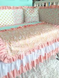 Custom Crib Bedding Sets Mint Pink Coral And Gold Arrow Polka Dot Custom Crib Bedding