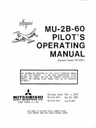 mitsubishi mu 2b 60 marquise pilot u0027s operating manual power