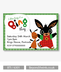 Personalised Birthday Invitation Cards Personalised Bing Bunny And Flop Invitations Printed On