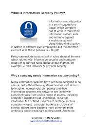 what is information security policy itil v3 2011