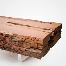 bicuiba trunk coffee table u2013 brushed stainless steel legs u2013 rotsen
